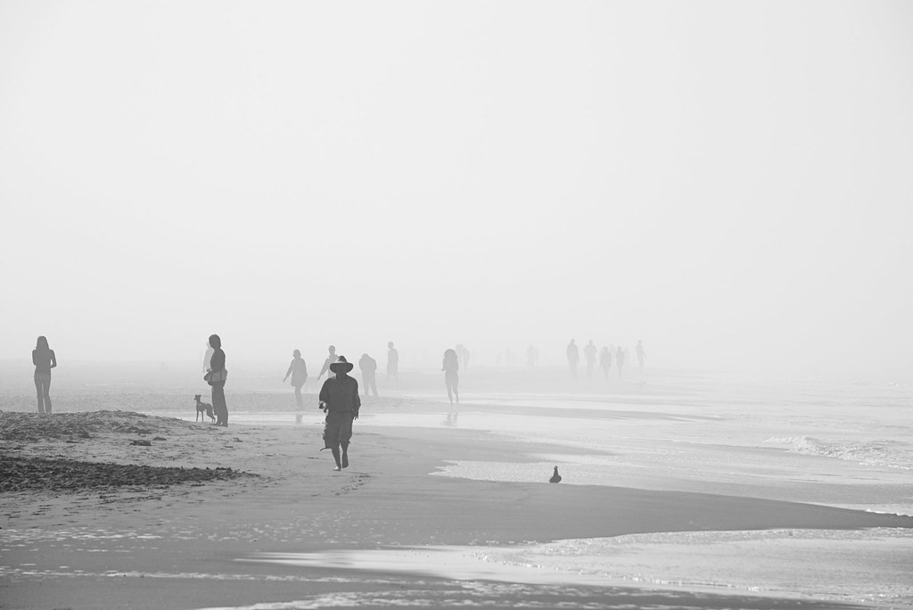 Morning walkers in Ocean Beach, San Francisco