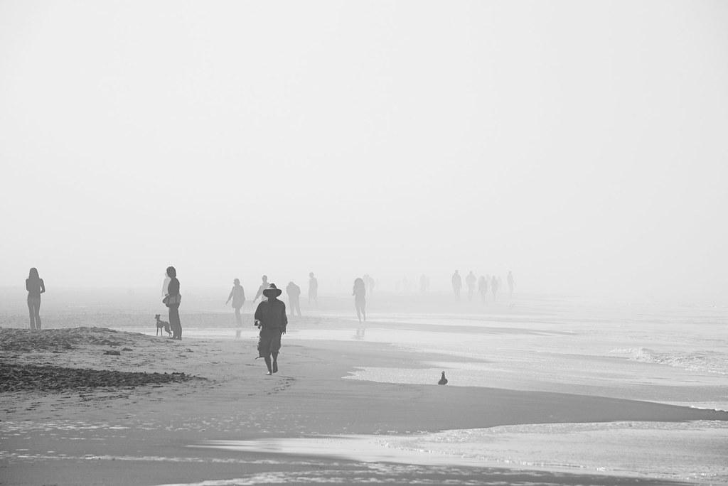 Morning walkers in Ocean Beach, San Francisco