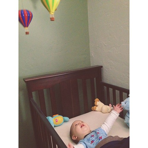 Baby William loves his hot air balloon mobile! #adorable #baby