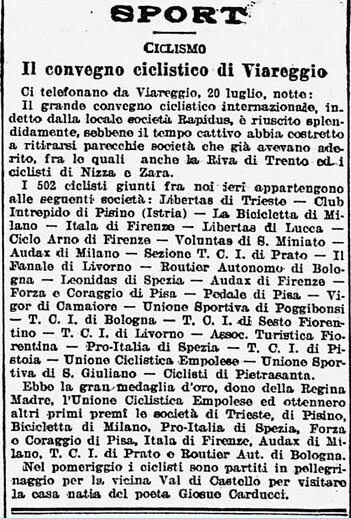 Articolo 22.07.1908 - Convegno ciclistico a Viareggio