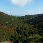 Meldon Viaduct, Higher Bowden Tor on the valley side.