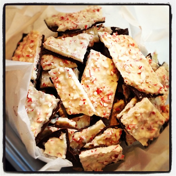 Peppermint bark all ready to be teachers' gifts!  #bark #candycane #yum #christmas #candy #peppermint #peppermintbark