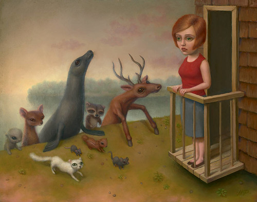 Marion Peck, Dream #722 Many Animals Are Coming Up From The Beach, Oil on canvas, 2008
