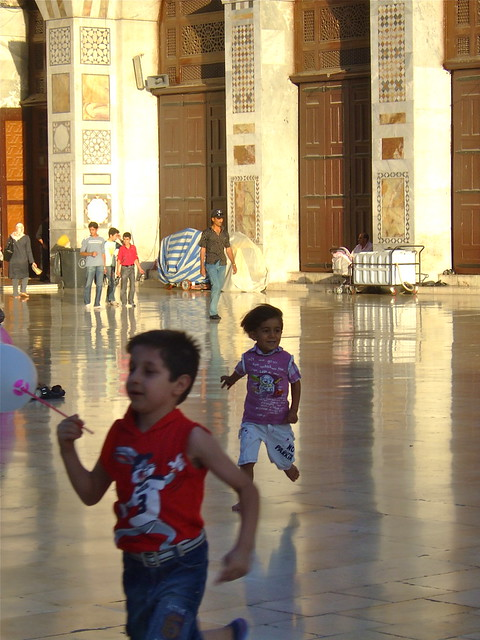 Kids running, Umayyad Mosque, Damascus