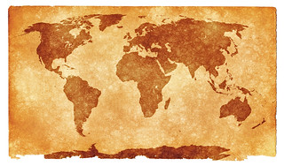 World Grunge Map - Sepia