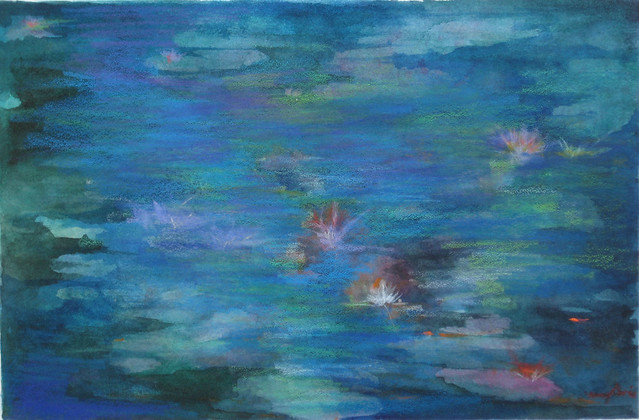 Water Lilies. Painting by Nancy Davis, 2012. BBG Class: Painting the Garden in Fall.