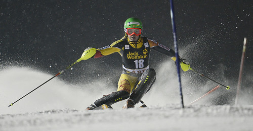 Erin Mielzynski during the first slalom run in Are, Sweden.