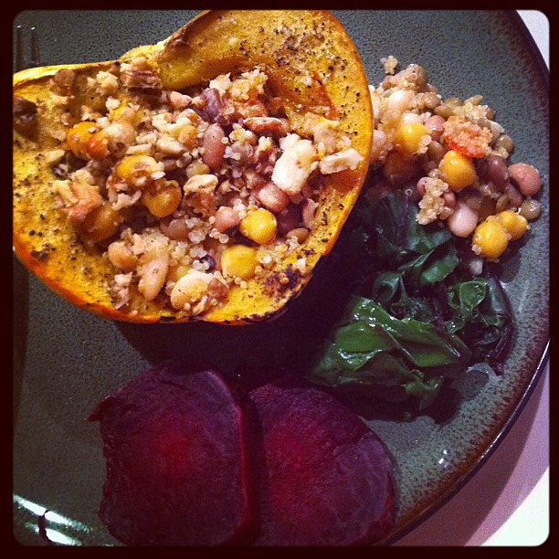 Carnival squash stuffed with quinoa, chickpeas, white beans, lentils ...