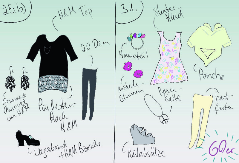Outfits 25.b und 31.12.