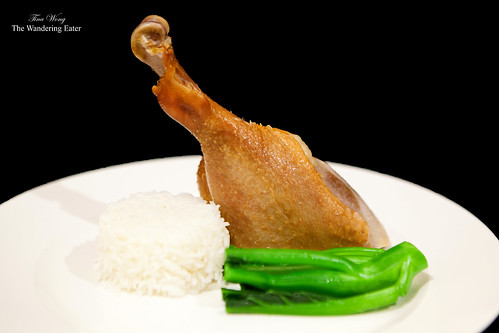 Steamed homemade Chinese cured goose leg (臘鹅腿) for dinner