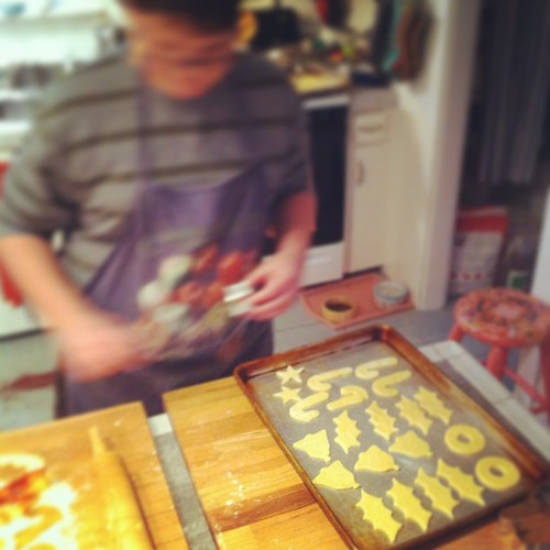 Adam, busy making cookies #teen #yule #fromourkitchen
