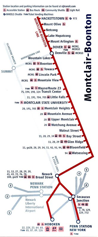 NJT Montclair-Boonton Map