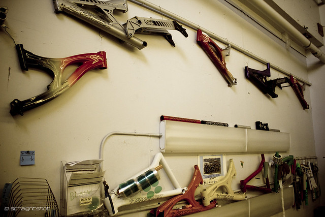 Wall of Santa Cruz Bike history & test frames