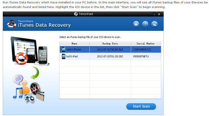 iPad Data Recovery step 1