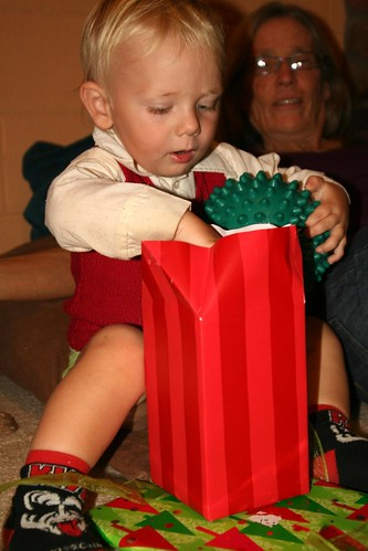 ollie opening a present