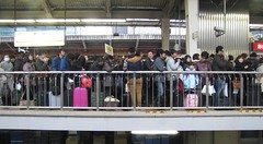 Queue for the non-reserved seats