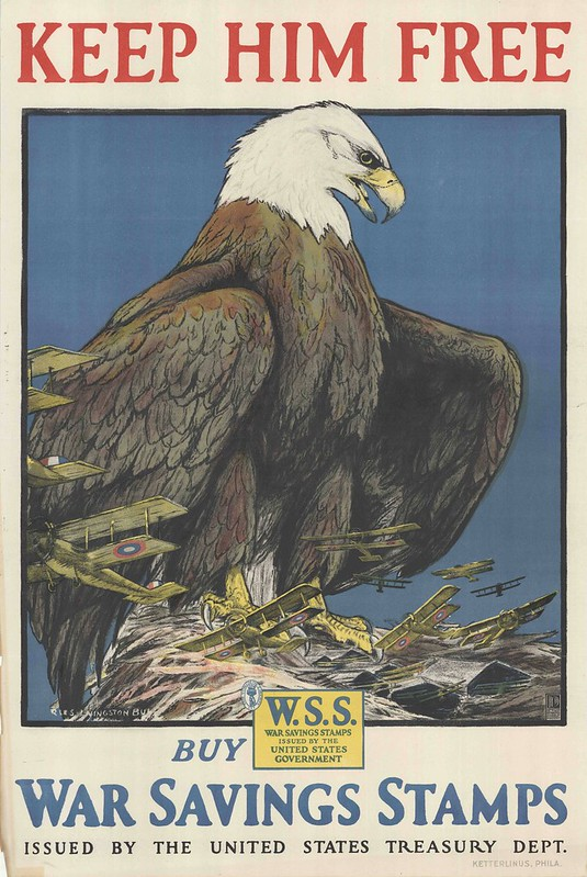 illustrated eagle with war planes under its talons