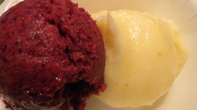 left strawberry/blueberry sorbet   rght lemon sorbet