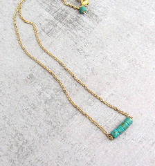 gold turquoise tiny necklace
