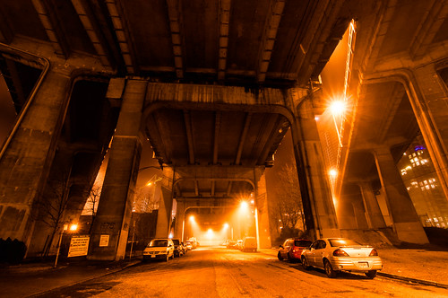 Under the Granville Bridge, foggy