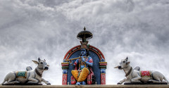 Lord Krishna on the walls of the Sri Mariamman Temple in Chinatown, Singapore