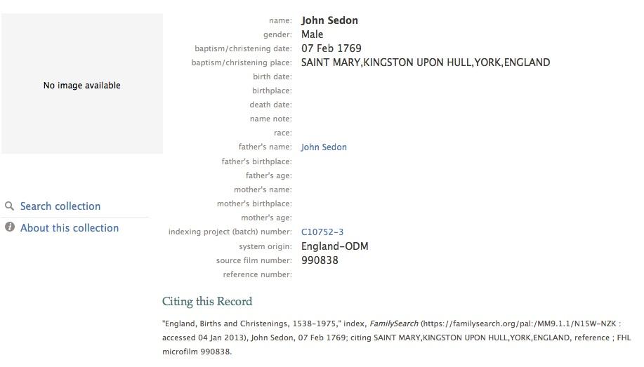 John Seddon 1869 baptism
