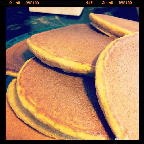 Whole wheat pumpkin honey pancakes.