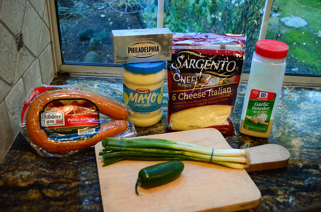 All the ingredients required to make Spicy Kielbasa Dip.