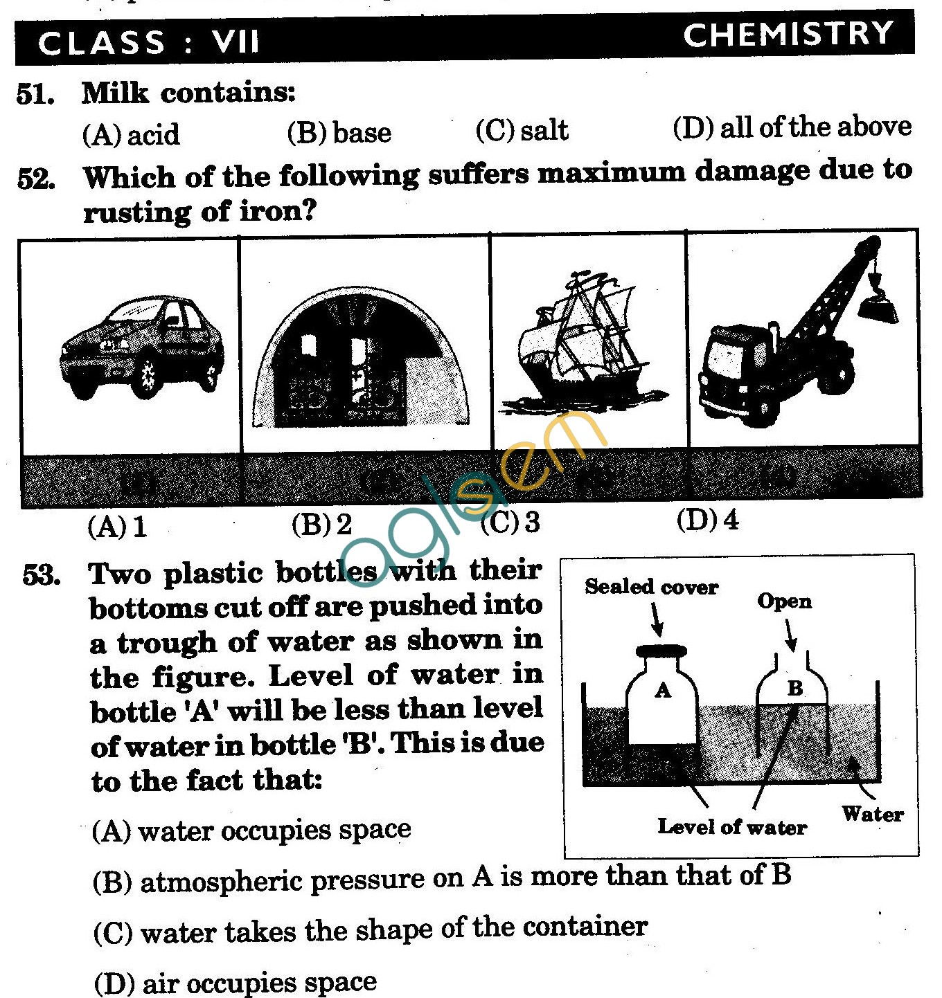 NSTSE 2009 Class VII Question Paper with Answers - Chemistry