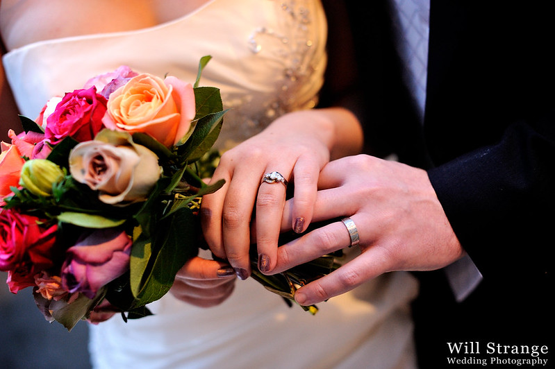 Bride and groom with their rings