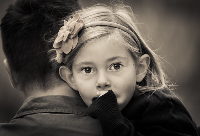 Monochrome, Child Portrait, Father, Daughter, Stare