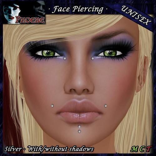 [$40L PROMO] *P* Unisex Face Piercing B1 ~Silver~