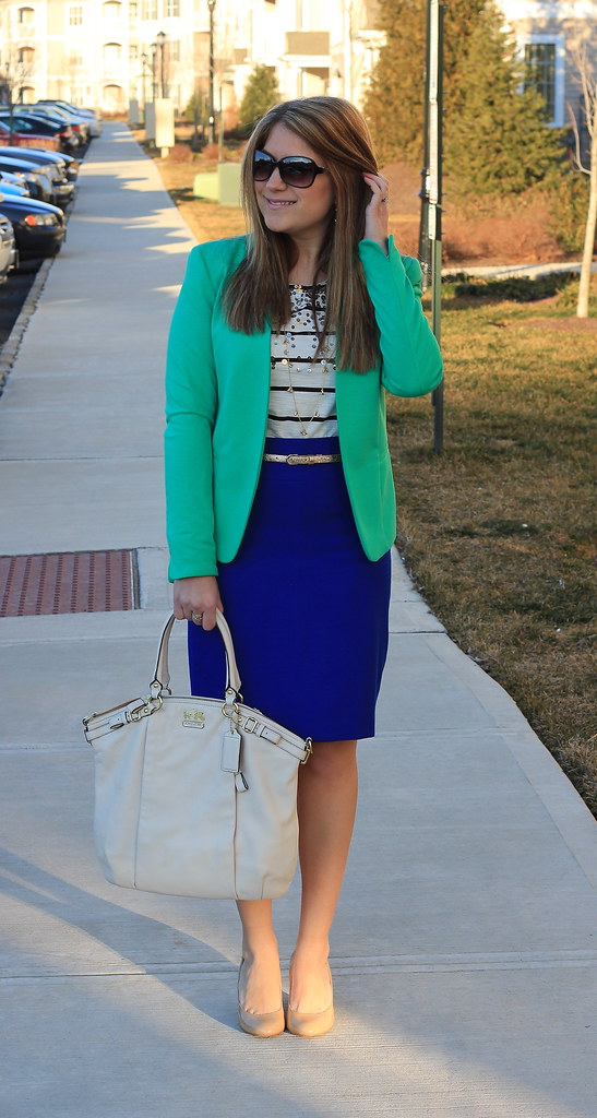 green blazer blue pencil skirt striped top work outfit