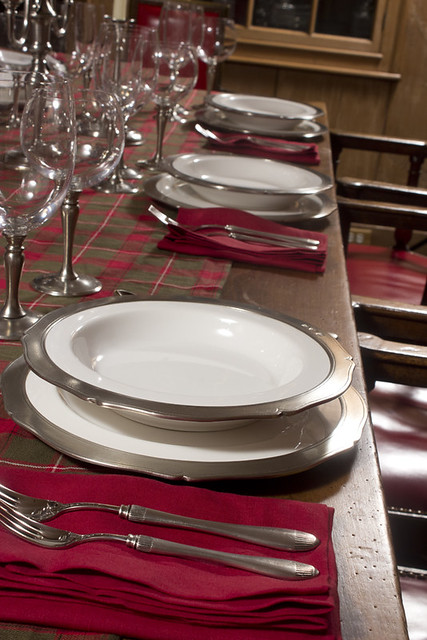 Winter Table Setting with Match Pewter Viviana Dinnerware