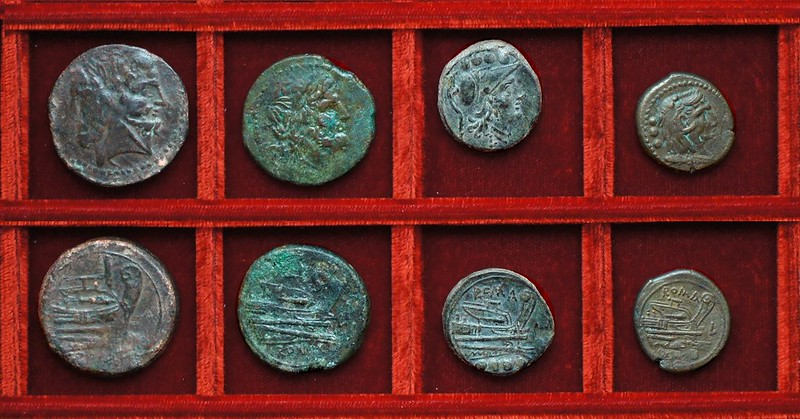 RRC 097 L Luceria bronzes (5) Ahala collection, coins of the Roman Republic