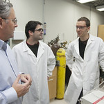 December 05, 2012 - 1:44pm - James Dumesic (left), a GLBRC researcher and professor in the University of Wisconsin-Madison College of Engineering, talks with postdoctoral researchers David Martin Alonso (center) and Jeremy Luterbacher. Research in the Dumesic lab focuses on chemical engineering approaches to biomass conversion; this involves using combinations of heat, chemical catalysts, and solvents to process biomass into fuels as well as intermediate chemicals used to manufacture a variety of everyday products.Photo by Matthew Wisniewski, GLBRC. Licensed  under Creative Commons CC BY-NC-ND 2.0.