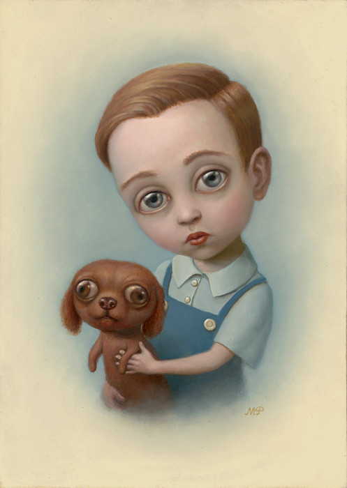 Marion Peck, Boy with a Puppy, Oil on canvas, 2007