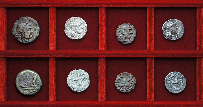 RRC 269 C.METELLVS Caecilia semis, RRC 273 Q.FABI Fabia denarius, quadrans, RRC 275 M.FAN C.F. Fannia denarius, Ahala collection, coins of the Roman Republic