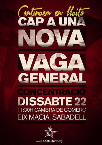 manifestació cap a una nova vaga general a sabadell