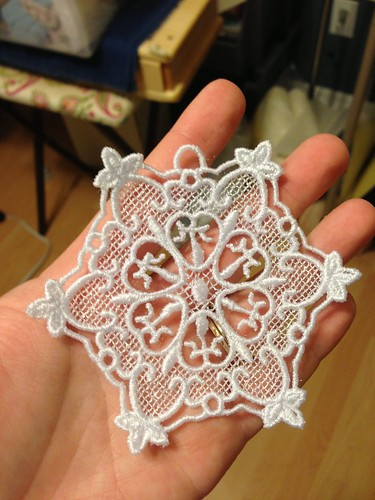 Lace ornament after water soluable stabilizer soaked off - Poly embroidery thread