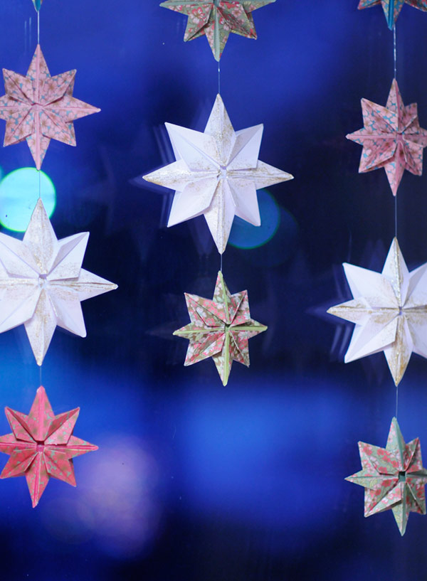 Origami star curtain