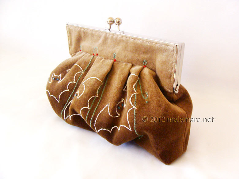 Brown velvet clutch bag with bat hand embroidery and purse frame folds