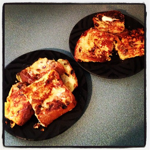 Christmas morning breakfast - Eggnog Panettone French Toast. Yum!