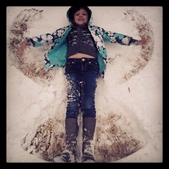 She waited until it stopped before making her snow angel.