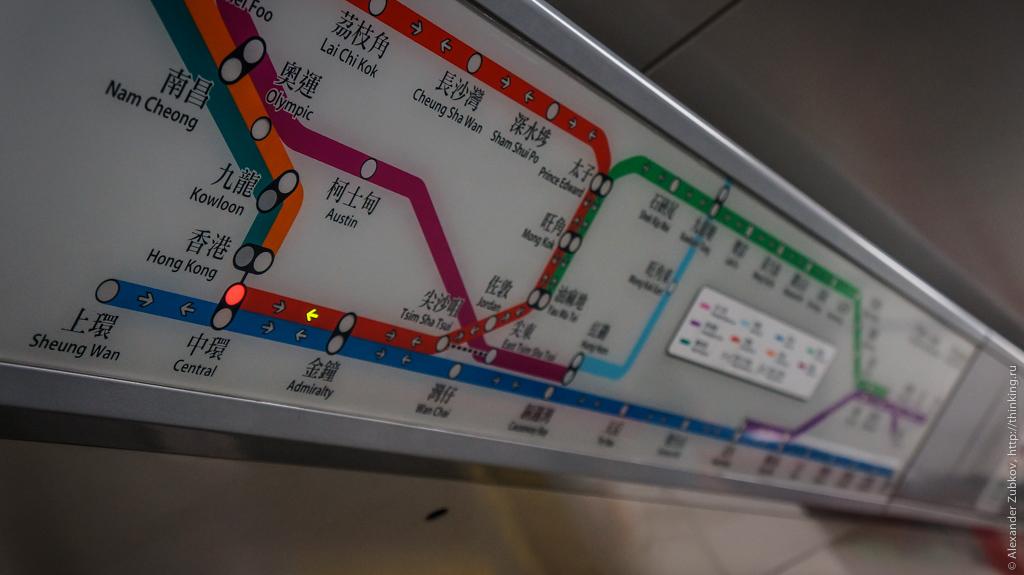 Схема в вагоне гонконгского метро