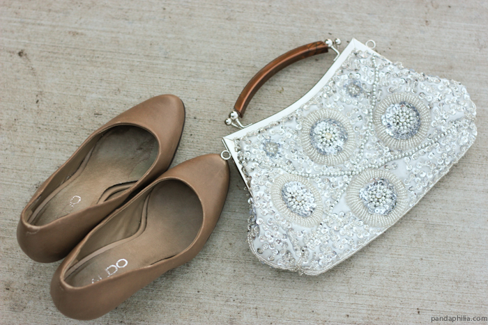 sequin clutch and nude pumps