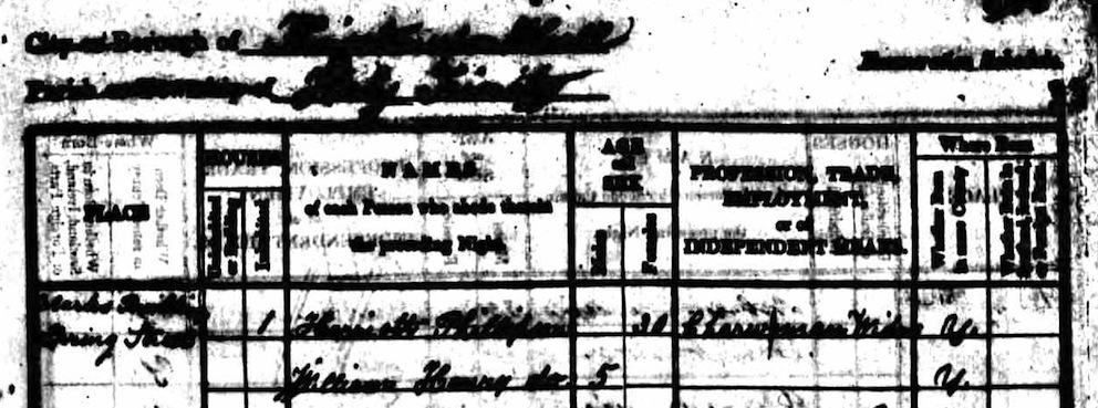 Harriet Philipson 1841 census