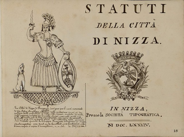 B&W sketch of armorial device inclusions accompanied by Italian text blazon