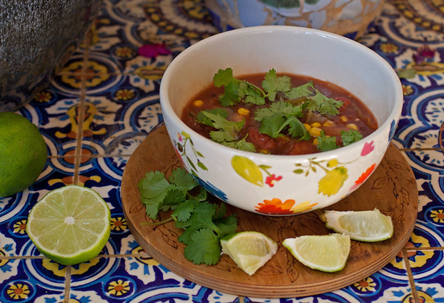 Black Bean, Tomatillo and Poblano Soup