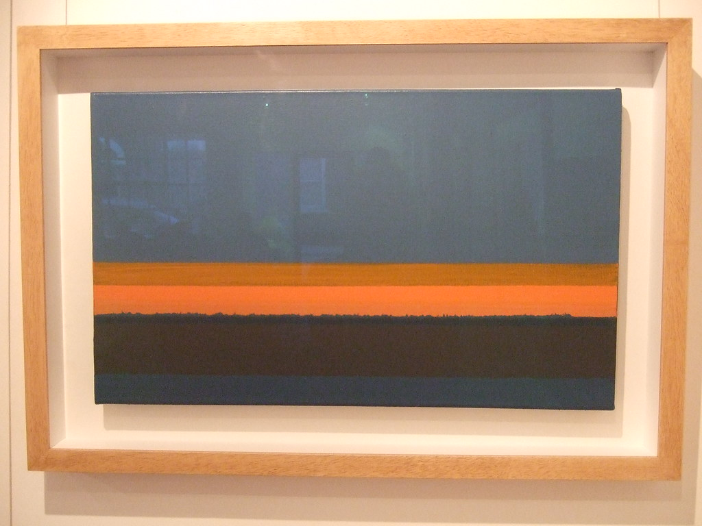 Justin Hawkes, Landscape Tension (Red Glow), acrylic (behind glass), 40 x 68 cm, Williams Art Gallery, Cambridge 2012